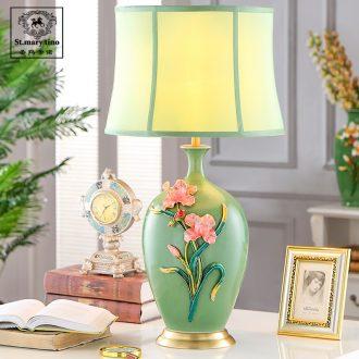 Santa marta American desk lamp light colored enamel porcelain French rural living room luxury european-style bedroom berth lamp green study