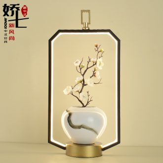 New Chinese style lamp sitting room the bedroom the head of a bed at the front desk ceramic flower arranging zen Chinese wind modern Chinese style lamps and lanterns of furnishing articles