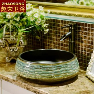 Wind restoring ancient ways of song dynasty porcelain basin outdoor toilet lavabo, the sink carved face basin stage basin