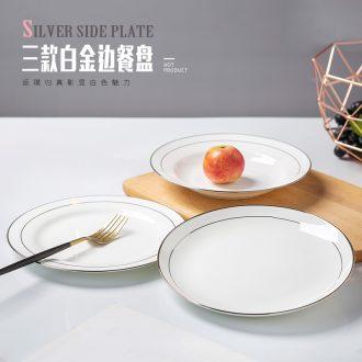 Jingdezhen creative white phnom penh household square deep dish bone plate tableware ceramics steak dishes dish plate