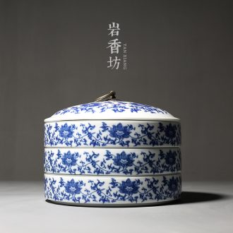 YanXiang fang dehua blue and white porcelain tea cake box but laminated pu 'er tea cake pottery jar with cover