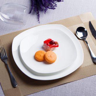 Pure white plate jingdezhen ceramic creative flat beefsteak dish dish cake snacks square plate western-style tableware