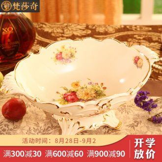 Ou compote creative home furnishing articles of luxury living room large ceramic fruit bowl tea table fruit basin wedding gift