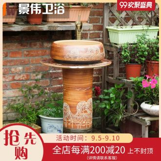 JingWei vertical lavatory sink ceramic column basin integrated outdoor stage basin sink the basin that wash a face to the ground