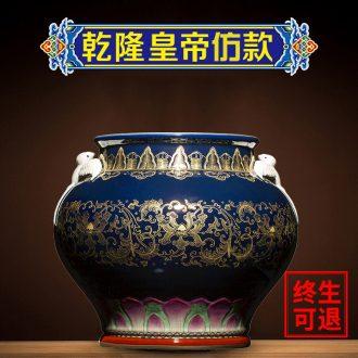 Large antique blue and white porcelain vase ji ning sealed kiln jingdezhen ceramics glaze colour rich ancient frame of new Chinese style porcelain