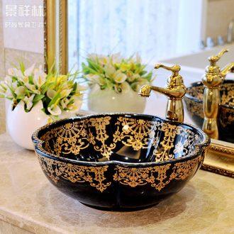 Ceramic lavabo stage basin art lavatory basin continental basin black gold flower petals toilet