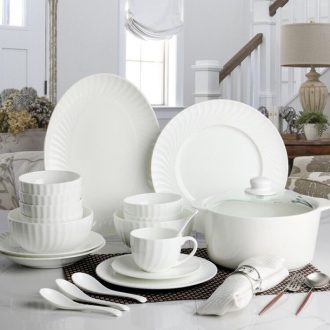 Chinese style is contracted pure white bone porcelain tableware suit jingdezhen irregular fresh creative dishes dishes chopsticks