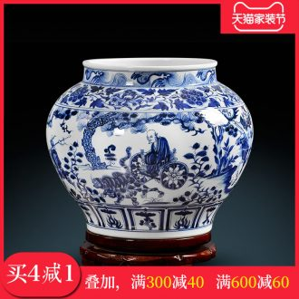Jingdezhen ceramic vase hand-painted guiguzi down blue cans of calligraphy and painting collection cylinder home sitting room place process