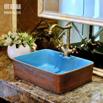 Ceramic art stage basin of rectangular basin home European contracted lavatory toilet lavabo, the sink