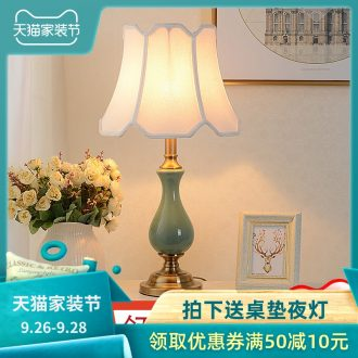 American bedroom berth lamp of household sweet retro contracted and contemporary creative study of the sitting room is adjustable light ceramic lamp