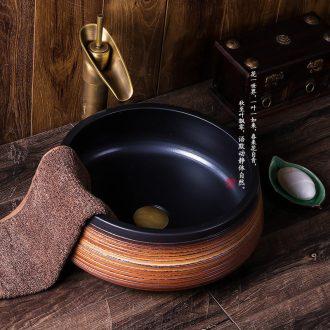 Jingdezhen ceramic sink basin on restoring ancient ways round jump cut grain character art hotel toilet basin basin
