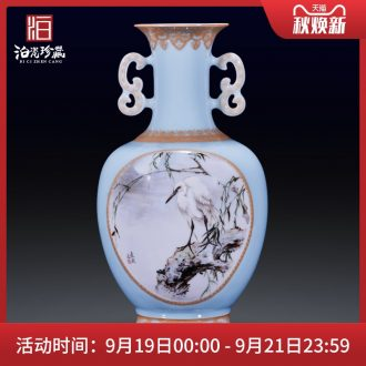 High-quality goods of jingdezhen ceramics hand-painted heavy pastel egrets painting of flowers and new Chinese style household decorative bottle vase furnishing articles