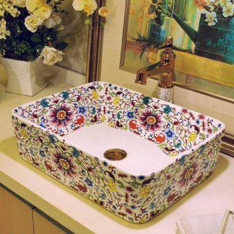 Lavatory ceramic European art toilet stage basin rectangle lavatory sink basin on stage