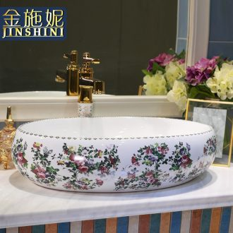 Gold cellnique rural wind on the lavatory ceramic lavabo sink basin of wash one's hands of art on the color