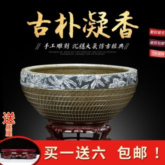 Jingdezhen ceramic hand-painted aquariums lotus cylinder household geomantic lotus cornucopia ceramics handicraft furnishing articles