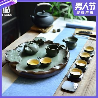 Tao fan coarse pottery tea tray tea set tea service suit Japanese household combination of natural kung fu ancient ceramics by hand