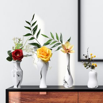 Floret dry place plug sitting room adornment household magenta wine contracted and contemporary 砙 TV ark of desk ceramics