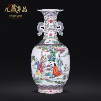Nine Tibetan Buddha article learn shi figure character ears statue imitation qing qianlong hand-painted ceramic vases, jingdezhen Chinese style furnishing articles
