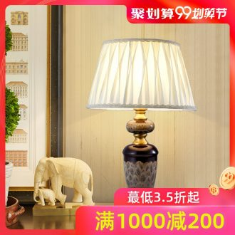 American whole copper ceramic desk lamp European sitting room home study bedroom nightstand lamp retro creative decoration lamp