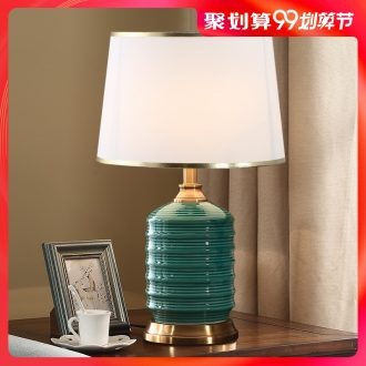 American bedroom nightstand lamp Nordic contracted and contemporary sitting room, study ceramic cloth art adornment marriage room desk lamp