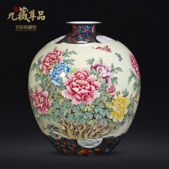 Nine Tibetan hand-painted famille rose blooming flowers vase statue of product of jingdezhen ceramics Chinese style living room TV ark flower arranging furnishing articles