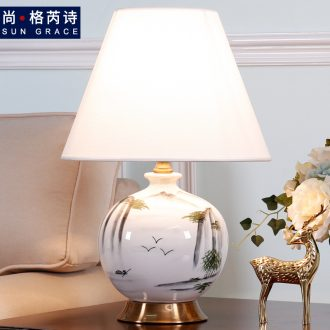 New Chinese style ceramic desk lamp sitting room bedroom berth lamp of modern Chinese wind restoring ancient ways zen hand-painted decorative warmth