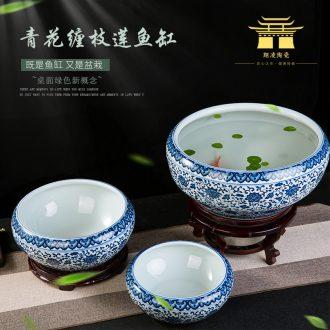 Jingdezhen ceramics porcelain bottle daikin tank cylinder tortoise narcissus basin of household water lily lotus garden furnishing articles