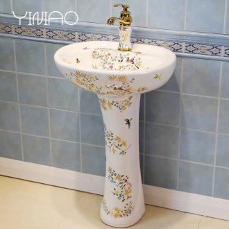 Ceramic column type lavatory floor toilet pillar lavabo contracted balcony basin sink