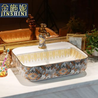 Gold cellnique European stage basin rectangle ceramic household lavatory basin sink sink art basin
