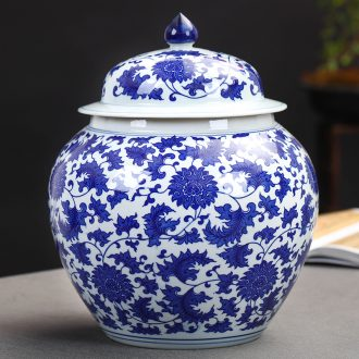 Blue and white porcelain of jingdezhen ceramics general tank storage tank pickle jar with cover Chinese sitting room adornment is placed