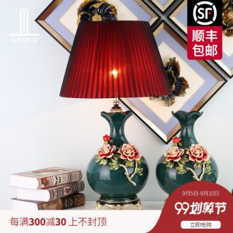 New Chinese style lamp sitting room the bedroom the head of a bed lamp type villa decoration creative atmosphere colored enamel porcelain lamp