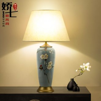Jiao qi ceramic desk lamp Chinese wind table lamp decoration of bedroom the head of a bed lamp cloth art lamp lighting lamps and lanterns of new Chinese style