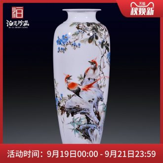 Jingdezhen ceramic painting birds and flowers in the vase furnishing articles new Chinese style office sitting room porch decoration craft gift