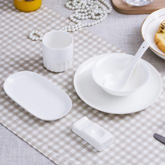Jingdezhen bone porcelain hotel put a full set of pure white desk tray bowl spoon set in western-style restaurant tableware can order LOGO