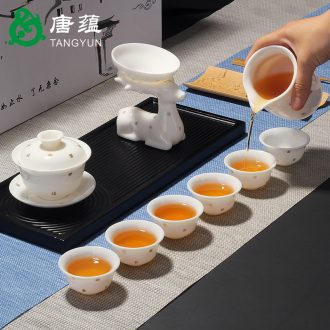 Suet jade porcelain tang yun kung fu tea set suit colour lid bowl of dehua white porcelain graven images of a complete set of household ceramics