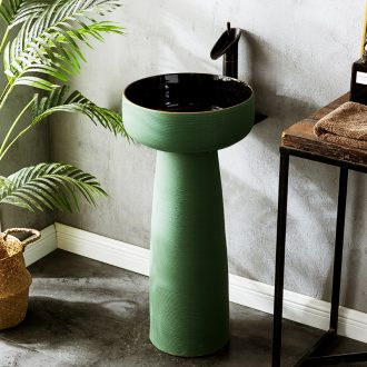 Hotel pillar type lavatory sink ceramic basin outdoor floor type courtyard home simple pond
