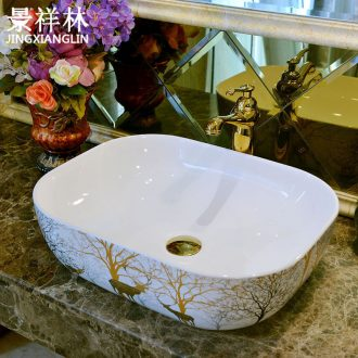 Ceramic European household toilet lavabo lavatory basin on stage around the basin that wash a face shape toilet stage basin