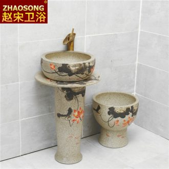 Europe type restoring ancient ways of song dynasty ceramics one-piece household balcony column basin of Chinese style outdoor sink pillar lavabo