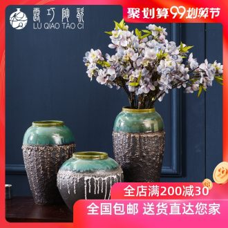 Lou qiao retro nostalgia coarse pottery vase dried flowers floral archaize sitting room household of Chinese style ceramic pottery house furnishing articles
