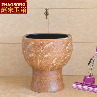 Large toilet mop basin restoring ancient ways of song dynasty ceramic art conjoined balcony mop mop pool tank pool outdoors