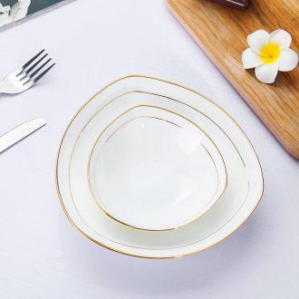 Jingdezhen porcelain household pure white bone porcelain paint triangle soup plate pasta FanPan salad vegetables dishes ceramic plate