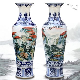 Jingdezhen ceramic hand-painted luck landscape painting big vase household living room floor furnishing articles opening gifts