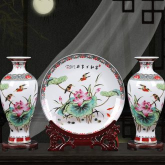 Ceramic vase three-piece furnishing articles home sitting room TV ark adornment flower arranging, small new Chinese arts and crafts