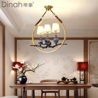 Emperor take American art creative personality restaurants droplight luxury lounge bar atmosphere full of copper ceramic chandeliers