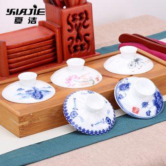 Four-walled yard single tureen lid ceramic tea cup bowl celadon flower tea set zero with three large jingdezhen porcelain