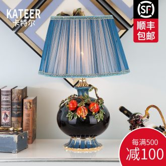 Cartel new Chinese style living room colored enamel porcelain lamp American luxury european-style villas of bedroom the head of a bed lamp