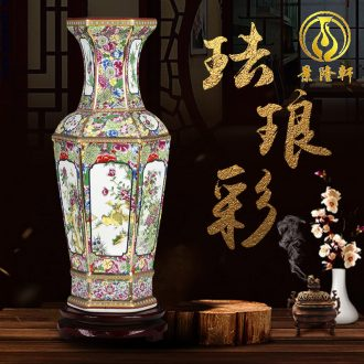 Jingdezhen ceramics vase imitation qianlong colored enamel vase retro flower arranging place Chinese style household ornaments