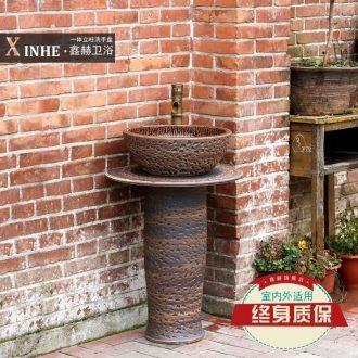 Ceramic column basin washing a face wash gargle bathroom floor integrated personality art basin vertical column basin to wash your hands