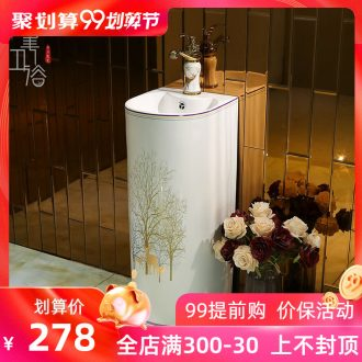 Small vertical column basin to post one pillar lavabo ceramic lavatory toilet floor type basin
