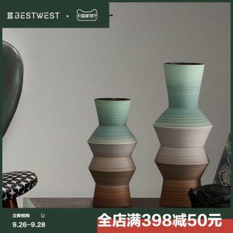 BEST WEST designer ceramic vase furnishing articles model villa living room decoration flower arranging, light decoration luxury
